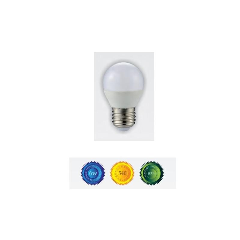 Bombilla led esferica E27 6W luz cálida